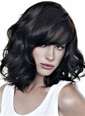 Top-rated Short Black Female Wavy Vogue Wigs 12 Inch