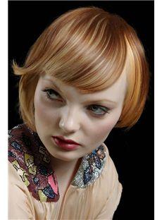 New Glamourous Short Blonde Female Wavy Vogue Wigs 8 Inch