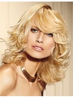 Grand Medium Blonde Female Wavy Vogue Wigs