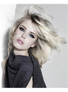 Affordable Medium Blonde Female Wavy Vogue Wigs 14 Inch
