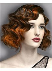 Vogue Wig Short Brown Female Wavy Vogue Wigs 12 Inch