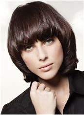 Top Quality Short Brown Female Wavy Vogue Wigs 12 Inch