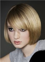 Custom Short Blonde Female Straight Vogue Wigs 10 Inch