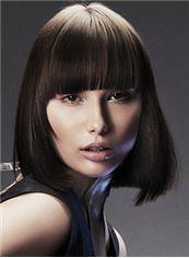 Pretty Short Brown Female Straight Vogue Wigs 12 Inch
