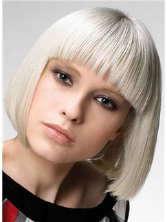 New Short Blonde Female Straight Vogue Wigs 10 Inch