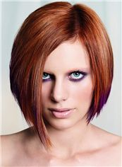 Sparkling Short Red Female Straight Vogue Wigs 12 Inch