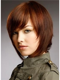 Fantastic Short Red Female Straight Vogue Wigs 12 Inch
