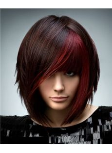 Lustrous Medium Red Female Straight Vogue Wigs 14 Inch