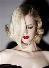 Lustrous Short Blonde Female Wavy Vogue Wigs 12 Inch