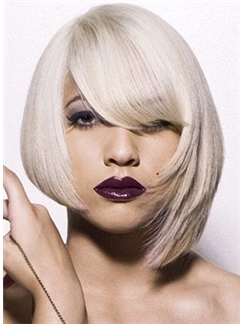 Cheap Colored Short Blonde Female Straight Vogue Wigs 12 Inch
