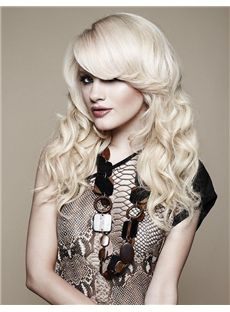 Top Quality Long Blonde Female Wavy Vogue Wigs 20 Inch