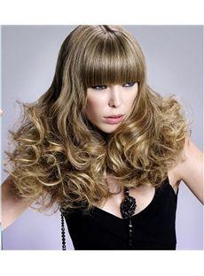 Lastest Trend Medium Blonde Female Wavy Vogue Wigs 16 Inch