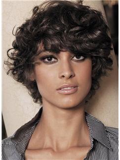 Custom Super Charming Short Brown Female Wavy Vogue Wigs 10 Inch