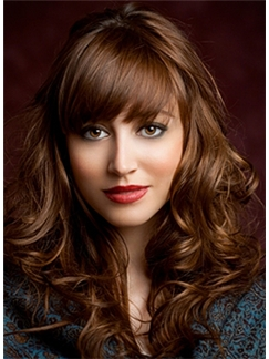 Top Quality Medium Brown Female Wavy Vogue Wigs 16 Inch