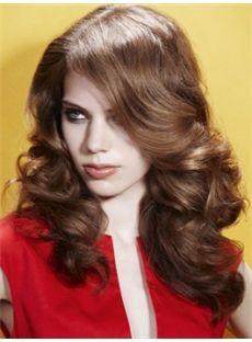 Brazil Medium Brown Female Wavy Vogue Wigs 16 Inch