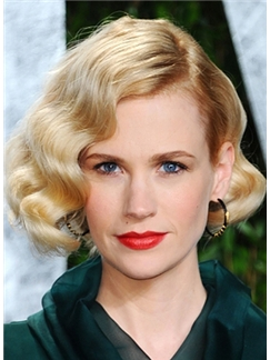 Shining Short Blonde Female Wavy Vogue Wigs 10 Inch