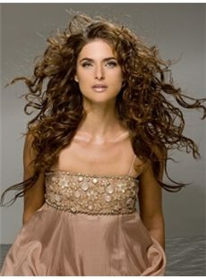 Multi-function Long Brown Female Wavy Vogue Wigs 22 Inch