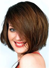 Noble Short Red Female Straight Vogue Wigs 8 Inch
