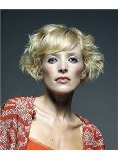 Stylish Short Blonde Female Wavy Vogue Wigs 8 Inch