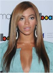 Gracefull Long Brown Female Beyonce Knowles Straight Celebrity Hairstyle 20 Inch