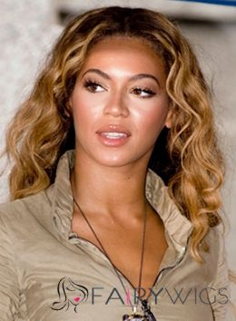 Wholesale Medium Blonde Female Beyonce Knowles Wavy Celebrity Hairstyle 14 Inch
