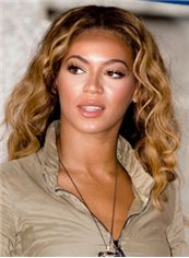 Wholesale Medium Blonde Female Beyonce Knowles Wavy Celebrity Hairstyle 14 Inch