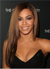 New Fashion Medium Brown Female Beyonce Knowles Straight Celebrity Hairstyle 18 Inch