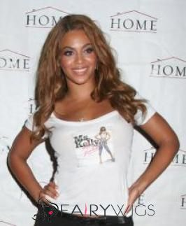 Personalized Long Brown Female Beyonce Knowles Wavy Celebrity Hairstyle 20 Inch