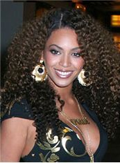 Discount Medium Brown Female Beyonce Knowles Curly Celebrity Hairstyle 18 Inch