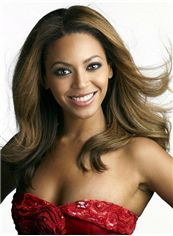Multi-function Medium Blonde Female Beyonce Knowles Wavy Celebrity Hairstyle 18 Inch
