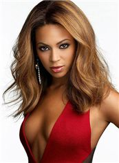 Prevailing Medium Blonde Female Beyonce Knowles Wavy Celebrity Hairstyle 18 Inch