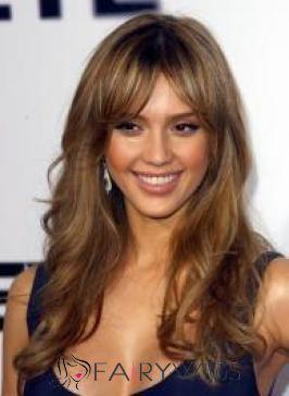 Sweet Medium Brown Female Jessica Wavy Celebrity Hairstyle 18 Inch