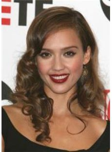 Stunning Medium Brown Female Jessica Wavy Celebrity Hairstyle 18 Inch