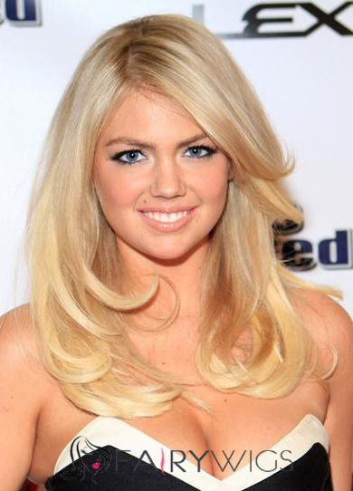 Cheap Colored Medium Blonde Female Kate Upton Wavy Celebrity Hairstyle 18 Inch