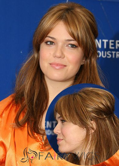 Ancient Medium Brown Female Mandy Moore Wavy Celebrity Hairstyle 16 Inch