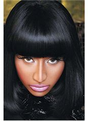 Lustrous Medium Black Female Nicki Minaj Wigs Wavy Celebrity Hairstyle 14 Inch