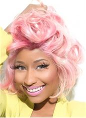 Charming Short Colored Female Nicki Minaj Wigs Wavy Celebrity Hairstyle