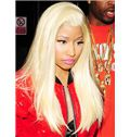 Online Long Blonde Female Nicki Minaj Wigs Straight Celebrity Hairstyle 20 Inch