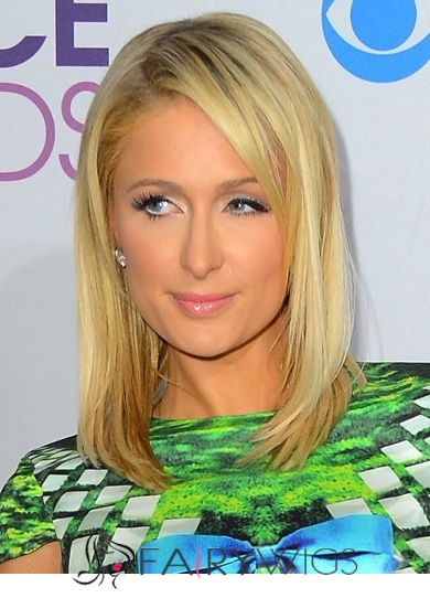 Trendy Medium Blonde Female Paris Hilton Straight Celebrity Hairstyle 14 Inch