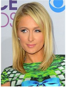 Trendy Medium Blonde Female Paris Hilton Straight Celebrity Hairstyle 14 Inch