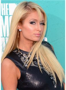 Wig Online Medium Blonde Female Paris Hilton Straight Celebrity Hairstyle 18 Inch