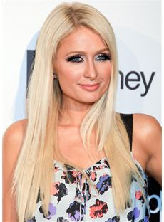 Concise Medium Blonde Female Paris Hilton Straight Celebrity Hairstyle 18 Inch