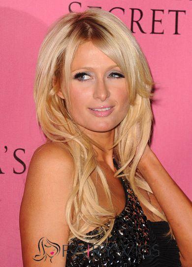 Hot Medium Blonde Female Paris Hilton Wavy Celebrity Hairstyle 18 Inch