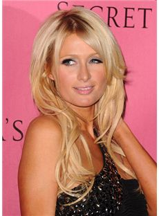 Hot Medium Blonde Female Paris Hilton Wavy Celebrity Hairstyle 18 Inch
