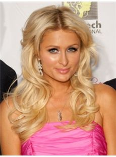 Gracefull Medium Blonde Female Paris Hilton Wavy Celebrity Hairstyle 18 Inch