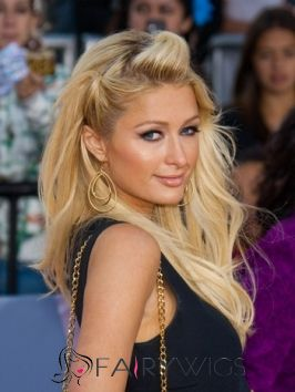 Shinning Long Blonde Female Paris Hilton Wavy Celebrity Hairstyle 20 Inch