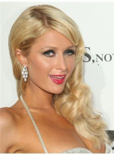 Top-rated Long Blonde Female Paris Hilton Wavy Celebrity Hairstyle 20 Inch