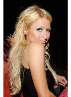 Quality Wigs Long Blonde Female Paris Hilton Wavy Celebrity Hairstyle 22 Inch