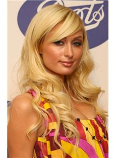 Custom Super Charming Long Blonde Female Paris Hilton Wavy Celebrity Hairstyle 22 Inch