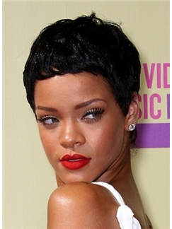 Stunning Short Black Female Rihanna Wavy Celebrity Hairstyle 6 Inch